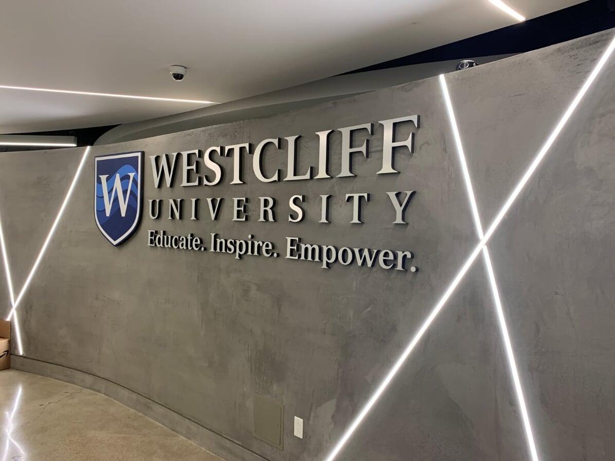 Westcliff University Cut Lettering on Brushed Alumnium